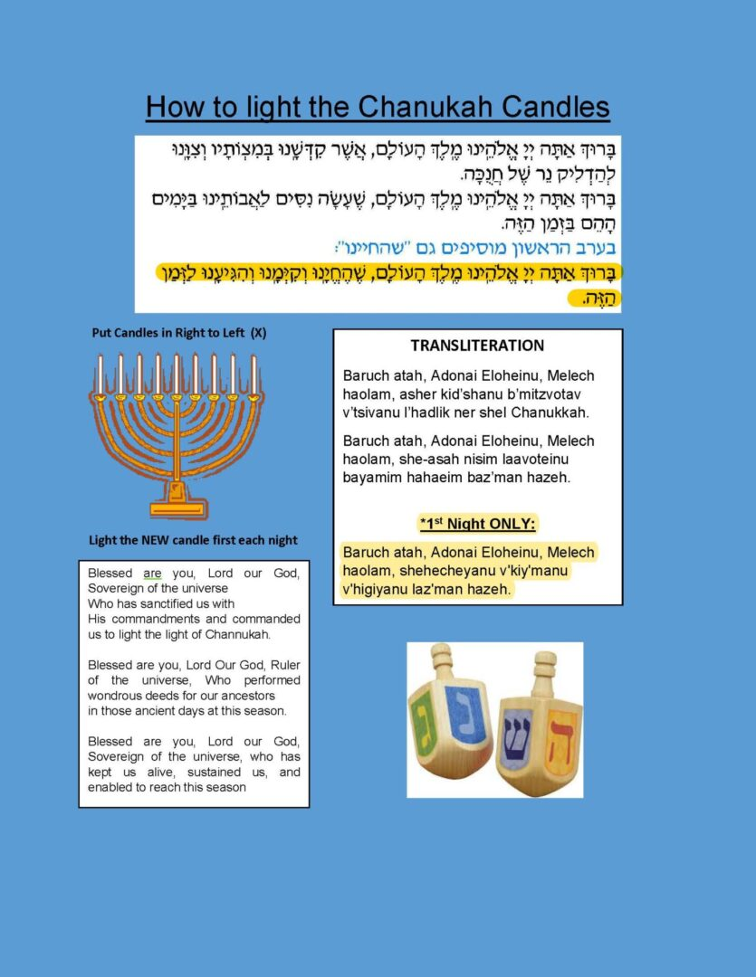 How to light the Chanukah Candles