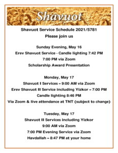 Shavuot 2021 Sched